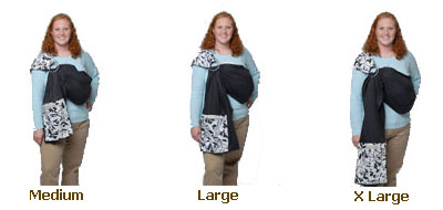 Photo of a woman wearing different sizes of Maya wrap